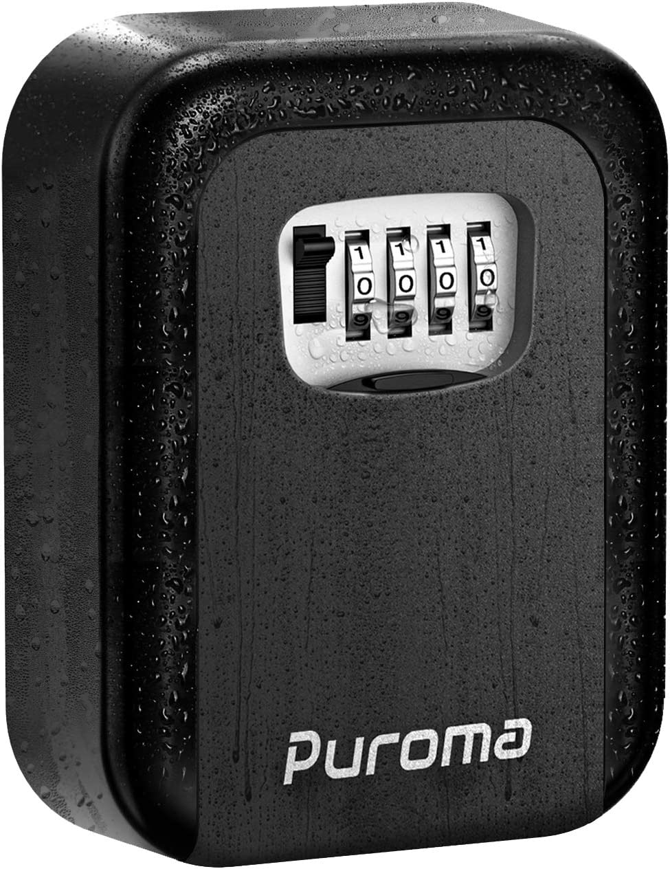 Puroma Security Key Lock Box, 4-Digit Combination Waterproof Portable Key Storage Lockbox Wall Mount 5 Key Large Capacity for House Key, Special Car Key, ID Card (Black)