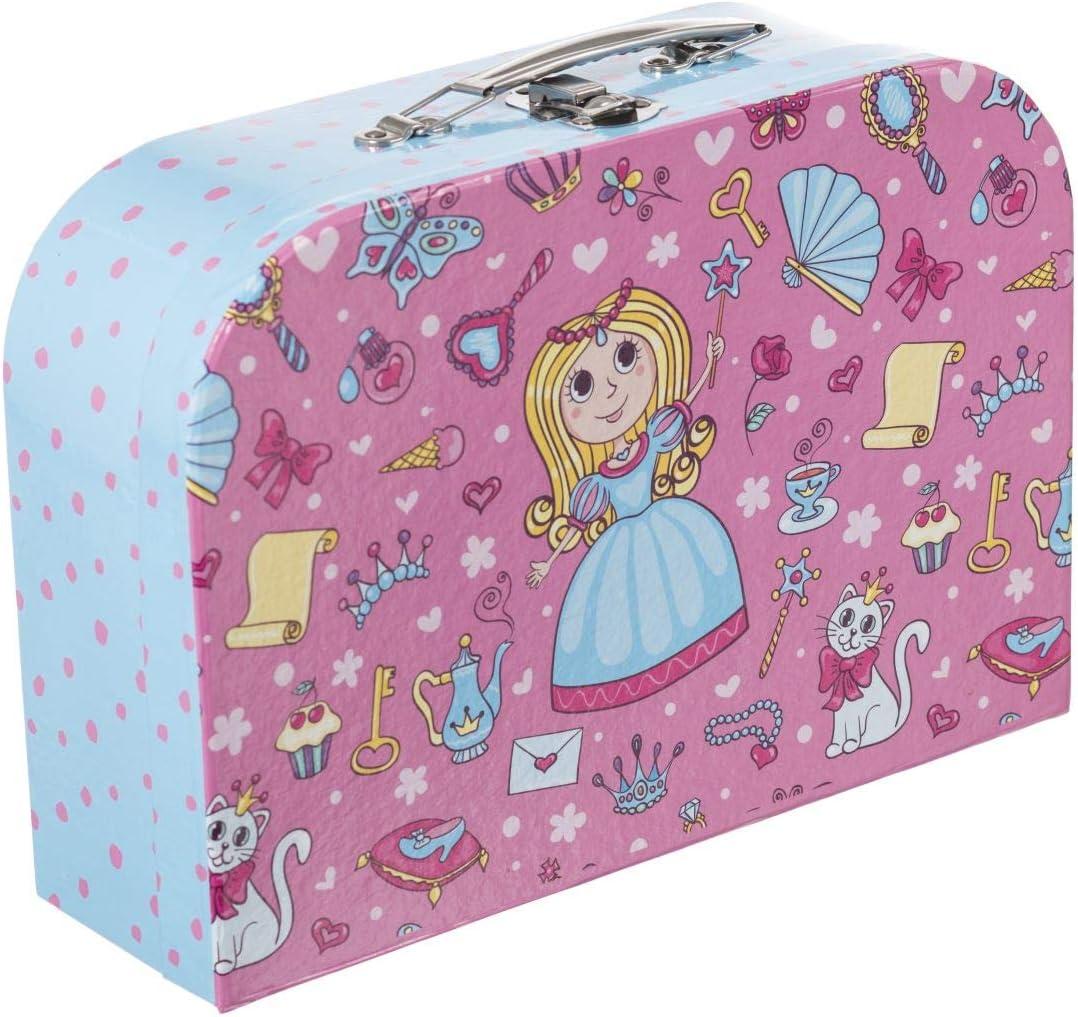Bieco Kinderkoffer Prinzessin, Koffer aus stabiler Pappe, 30 cm, mit Metallgriff, für Kinder AB 3 Jahre Equipaje Infantil, 6 Liters, Rosa (Hellblau Und Pink)