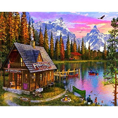The Fishing Hut Jigsaw Puzzle 1000 Piece: Toys & Games