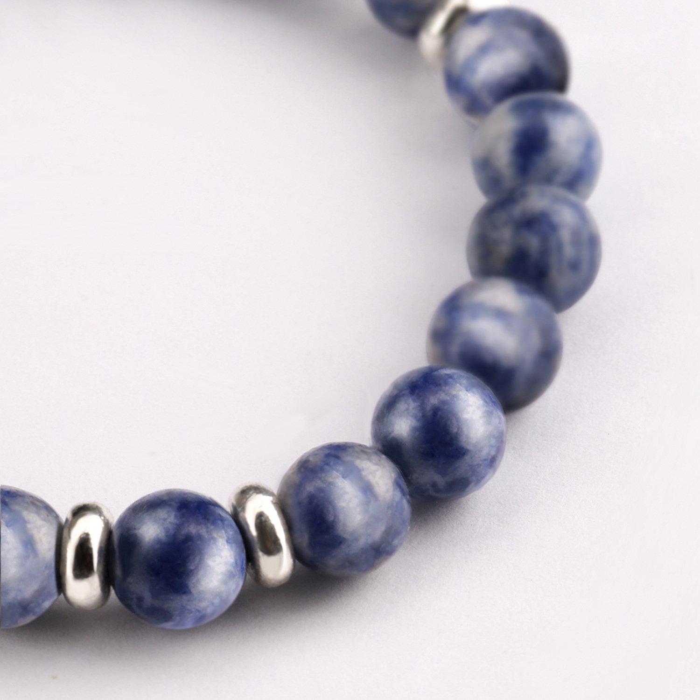 Bead Bracelets,UHIBROS Unisex Natural Tiger Eyes, Black Matte, Weathering Agate Beads Stretch Bracelets With Leopard Head Gold,Silver (Beads Sliver)