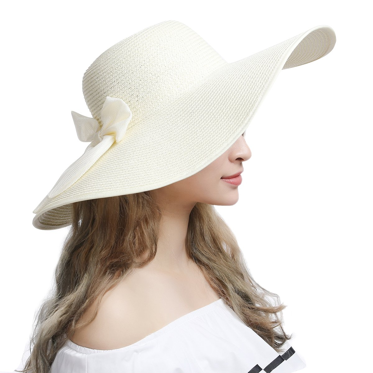 24a5d5e4e6301 Womens Sun Hat Foldable Floppy Travel Packable UV Summer Beach Straw Hats  UPF50 (Beige) at Amazon Women s Clothing store
