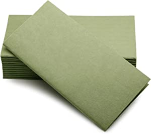 "Simulinen Colored Napkins - Decorative Cloth Like & Disposable, Dinner Napkins - Olive Green - Soft, Absorbent & Durable - 16""x16"" - Great for Any Occasion! - Box of 50"