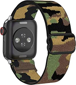 MITERV Adjustable Elastic Watch Band Compatible with Apple Watch 38mm/40mm Soft Stretch Strap Replacement Wristband for iWatch Series SE/6/5/4/3/2/1 Camouflage 38mm/40mm