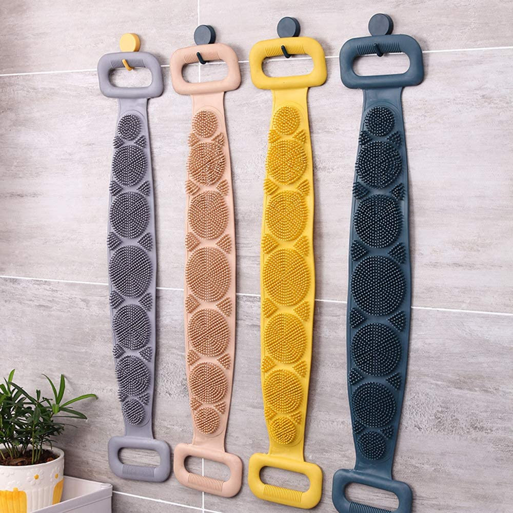 Bath Belt Massage Brush Bath Towel Rub Back Men And Women Double-Sided Clean Exfoliating Strip Back Washer Akin Silicone Back Scrub Bath Shower Towel