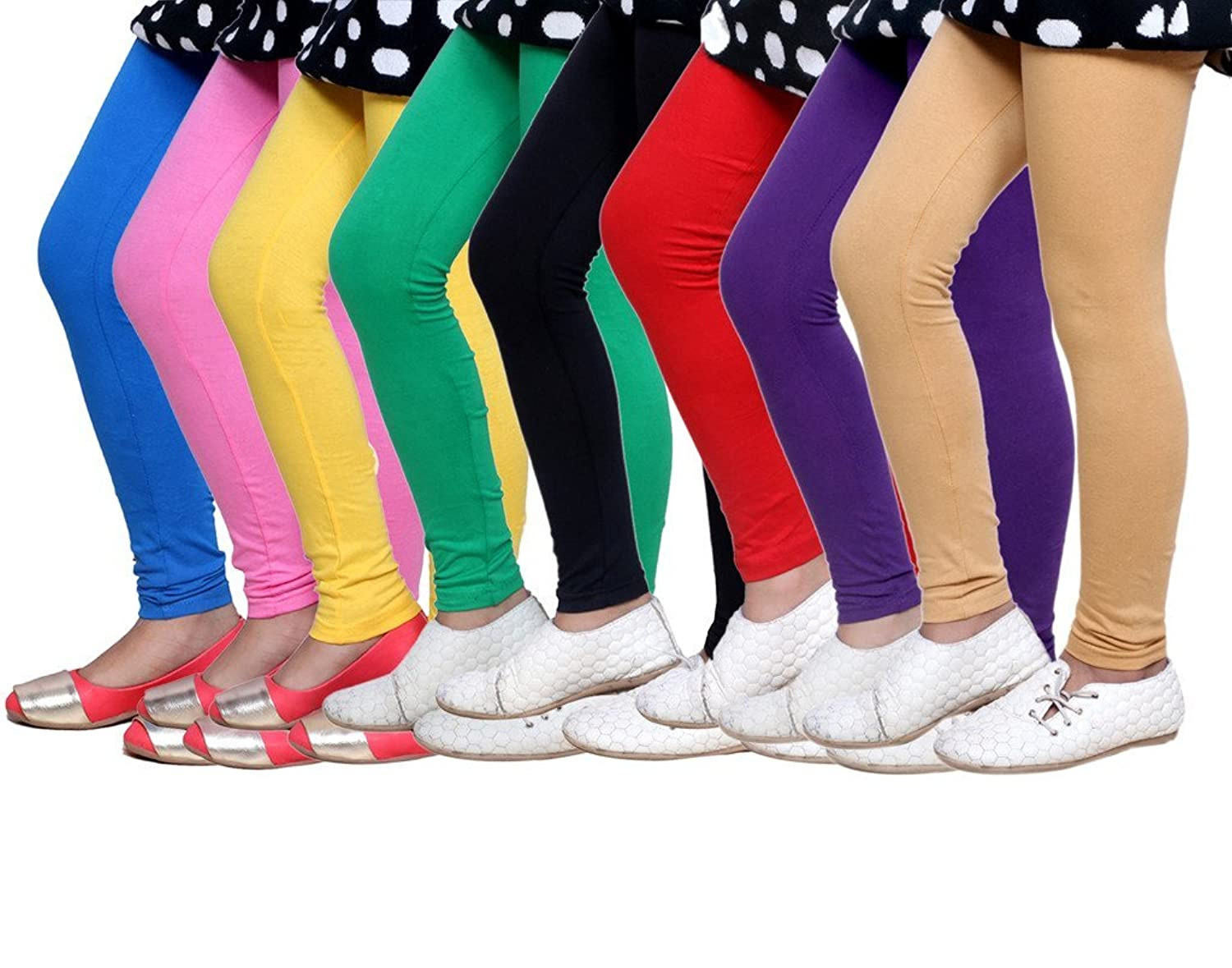 Pack of 5 -Multiple Colors-17-18 Years Indistar Big Girls Cotton Full Ankle Length Solid Leggings