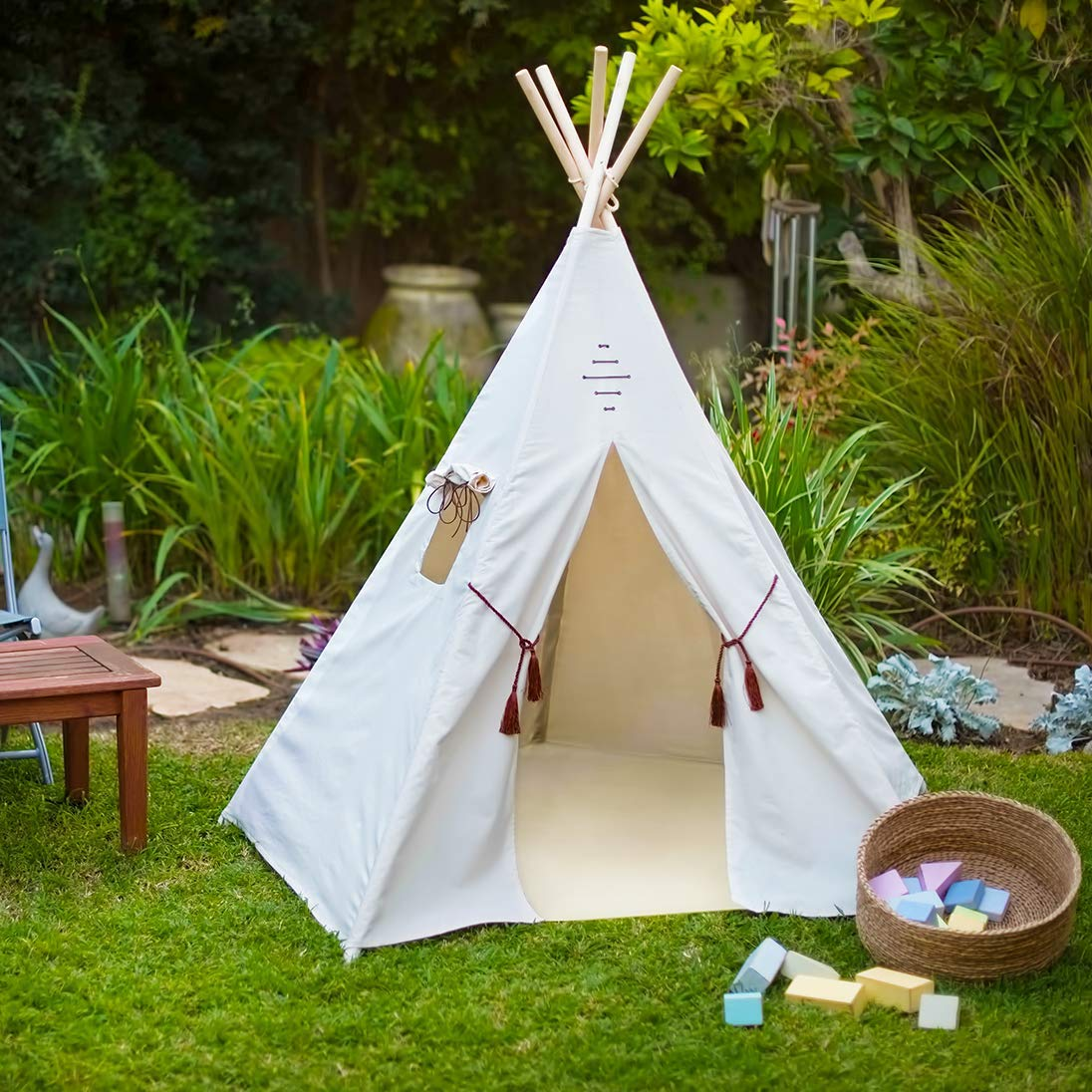 uk availability 810e9 306fd Nature's Blossom Kids Teepee Tent For Indoor and Outdoor Play. Large Tipi  with Floor, 5 Poles, Window, Carrying Bag. Pentagon Shaped, Portable Kids  TP ...