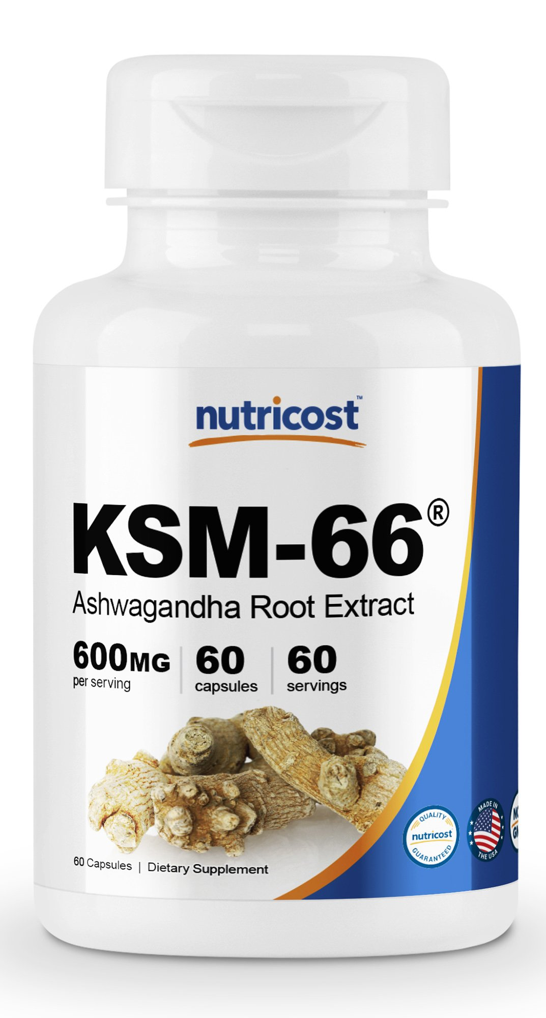 Nutricost KSM-66 Ashwagandha Root Extract 600mg, 60 Veggie Caps - High Potency 5% Withanolides - with BioPerine - Organic Full-Spectrum Root Extract by Nutricost