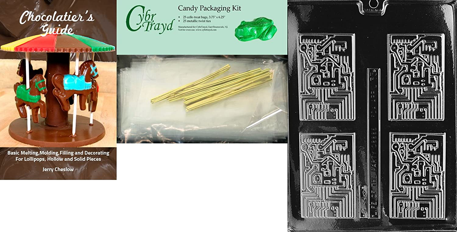 25 Gold and 25 Silver Twist Ties Includes 50 Cello Bags CybrtraydLaptop Computer Miscellaneous Chocolate Mold with Chocolatiers Bundle