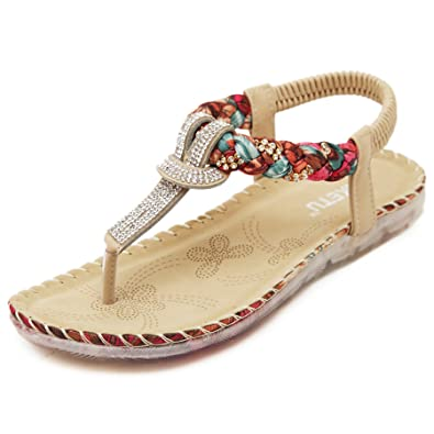 Ladies Womens Diamante Strap Flat Beach Gladiator Thong Sandals Flip Flops Shoes