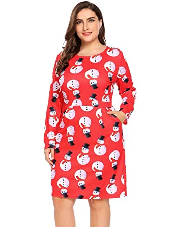 Women s Plus Size Long Sleeve A-Line Midi Dress With Pockets for Christams  Xmas Holidays 74daed21f5