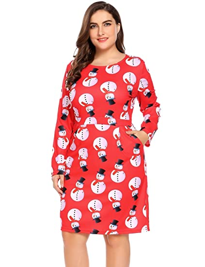 441c9edcd2 Women s Plus Size Long Sleeve A-Line Midi Dress With Pockets for Christams  Xmas Holidays