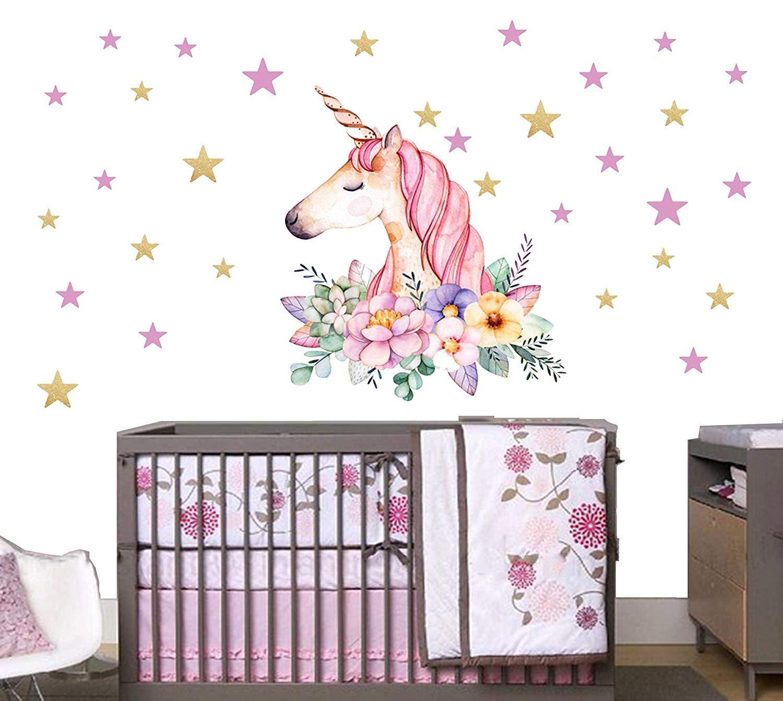 Sayala Unicorno Adesivo da parete in materiale vinilico, Unicorno Adesivi da Parete Cameretta Bimba Adesivi Murali Camerette Bambini Decorazione (Fiore Unicorno)