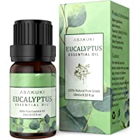 ASAKUKI Eucalyptus Essential Oil 10ml, 100% Pure Natural Essential Oils, Organic Aroma Essential Oil, Scented Oils for Diffuser, Therapeutic Body Massage, DIY Candles, Help Relieve Stress