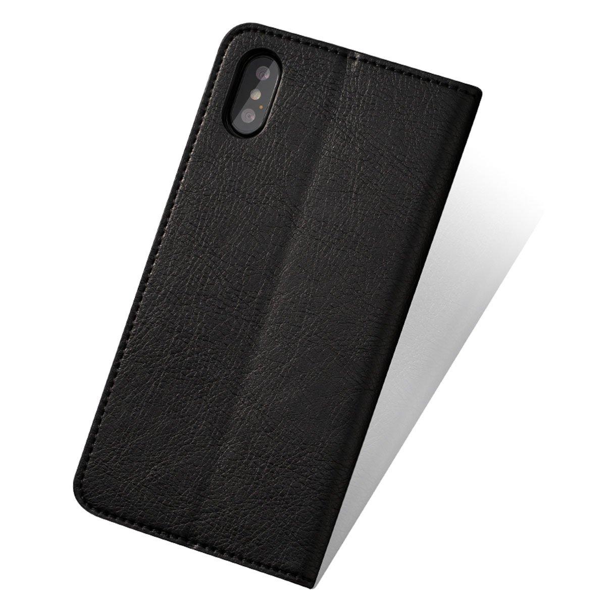 74cc278356 Amazon.co.jp: MINIBA MINIBA iPhoneケース カバー 最新型iPhoneX対応 手帳型 アイフォンX 牛革本革レザー  横開き スタンド機能付き (ブラック): シューズ&バッグ