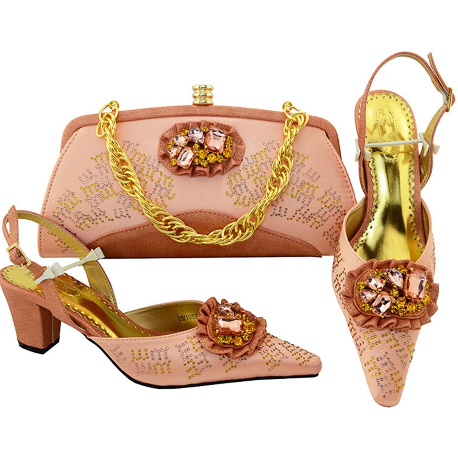 Gold Color Italian Shoes with Matching Bags Nigerian Wedding Shoes and Bag Set Party Shoes and Bag Set Bag and Shoes Set Italy,Peach,9 by KKK-3boss