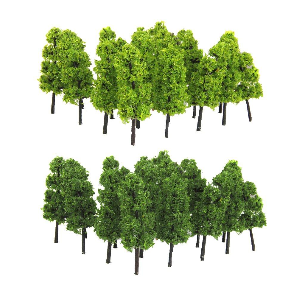 20pcs Pagoda Trees Model Train Railroad Scenery 1:200 Dark and Light Green Generic