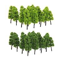 Lot de 20pcs Echelle 1:200 Arbre Miniature pour Modèle Paysage Modélisme Ferroviaire - Vert Clair et Foncé