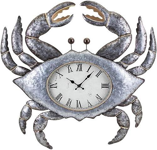 CC Home Furnishings 27.25 Metallic Silver and Gold Coastal Style Crab Decorative Metal Wall Clock