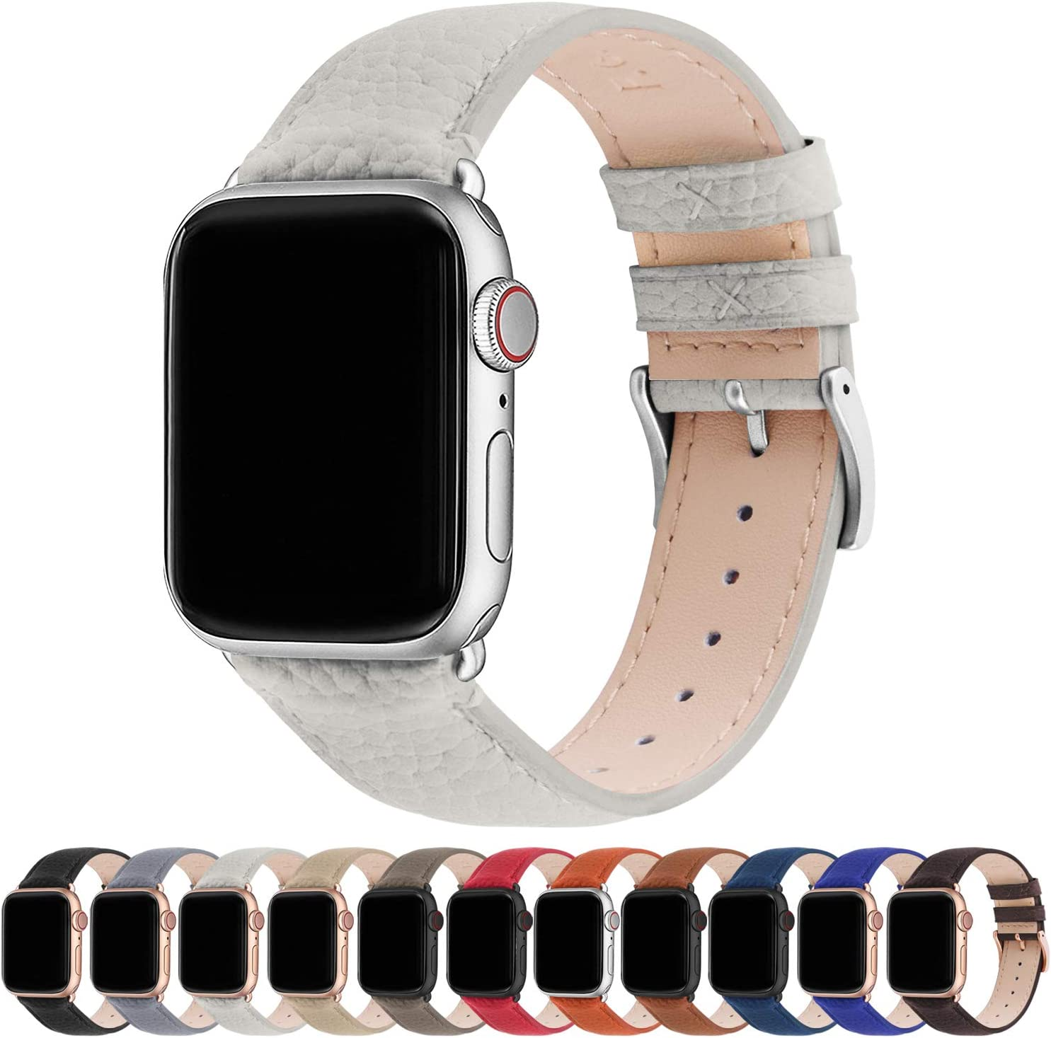 Fullmosa Compatible Apple Watch Band 44mm 42mm 40mm 38mm Leather Compatible iWatch Band/Strap Compatible Apple Watch SE & Series 6 5 4 3 2 1, 38mm 40mm, Ivory White + Silver Buckle