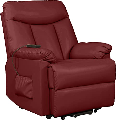 Domesis Renu Leather Power Lift Chair Recliner, Burgundy Red