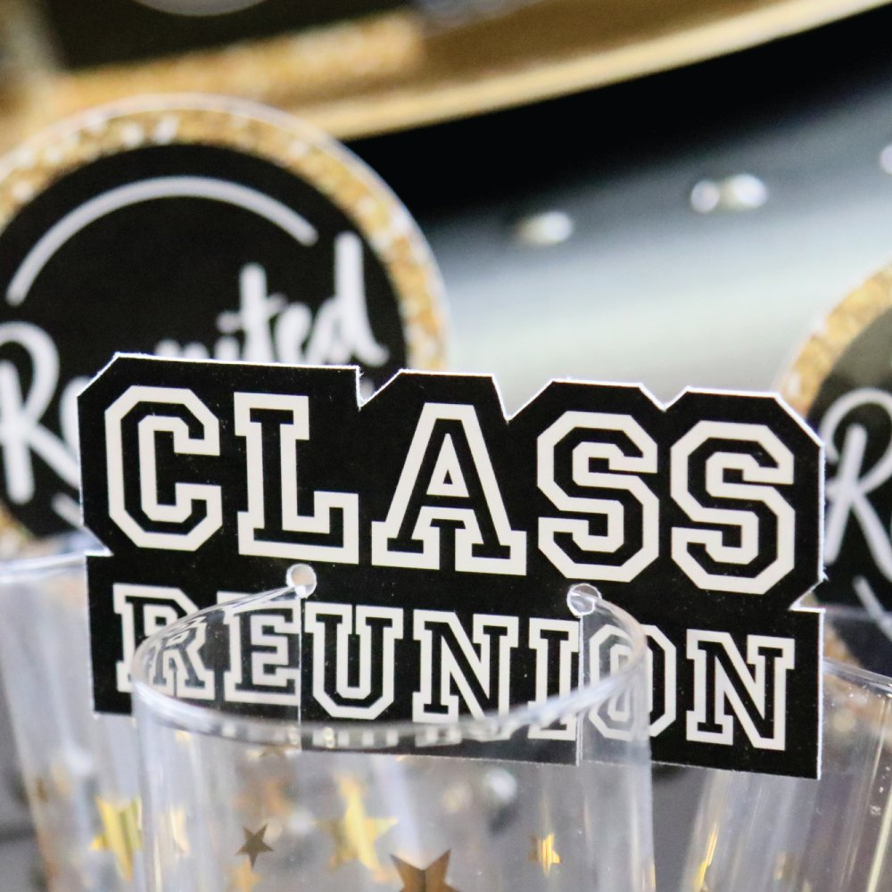 Set of 24 Reunited Shaped School Class Reunion Party Wine Glass Markers