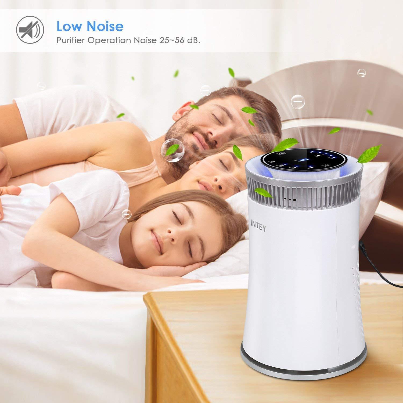 INTEY HEPA purificateur dair silencieux Air Cleaner avec arr/êt automatique Minuteur//ions Button//lumi/ère de nuit pour Allergy Season HEPA filtre /à air inclus