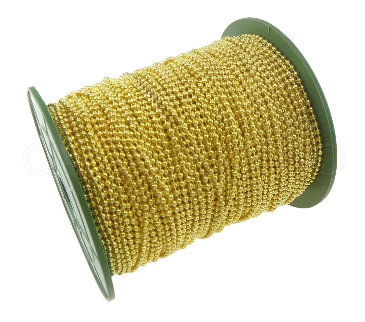 CleverDelights Ball Chain Spool 330 Feet Gold Color 2.4mm Ball #3 Size Bulk Chain Roll