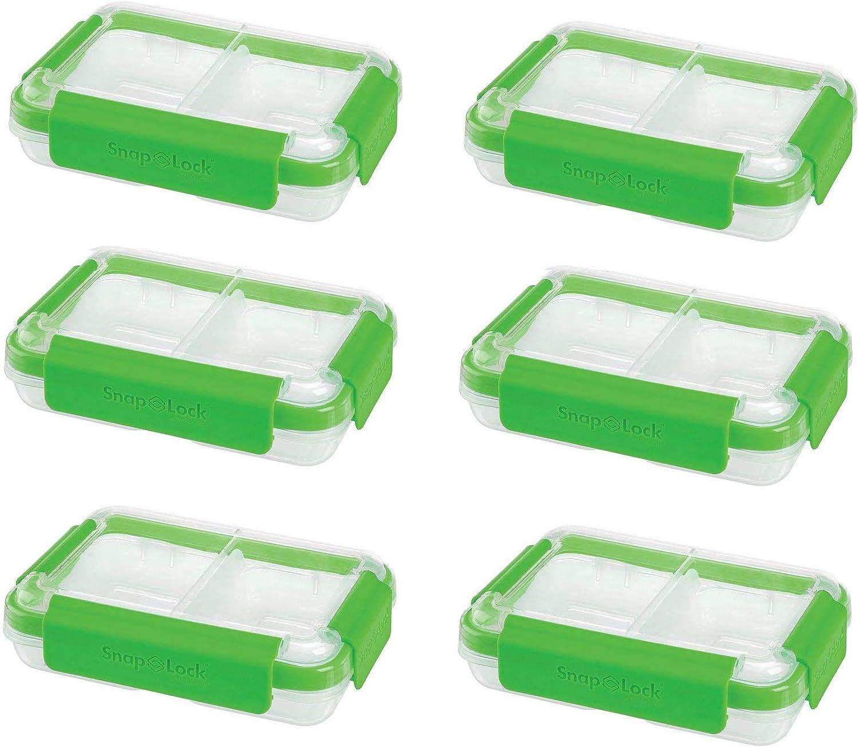 SnapLock by Progressive International Snaplock Split To Go Food Container, Green (6 Pack)