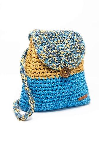 Gallaecia Studio Mochila Bolso casual tejida crochet para mujer sostenible medio ambiente