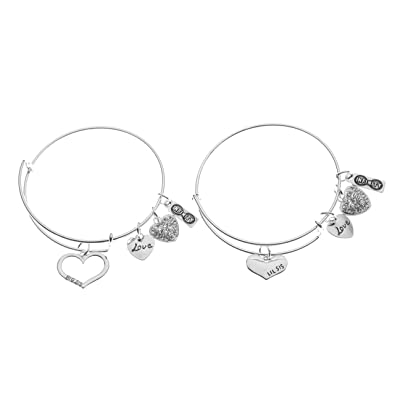6221ad243 Amazon.com: Sister Gifts- Sister Braclet Set- Sister Bangle Bracelet Set-  Big Sister and Litttle Sister Jewelry - Sister Jewelry- Perfect Gift for  Sisters: ...