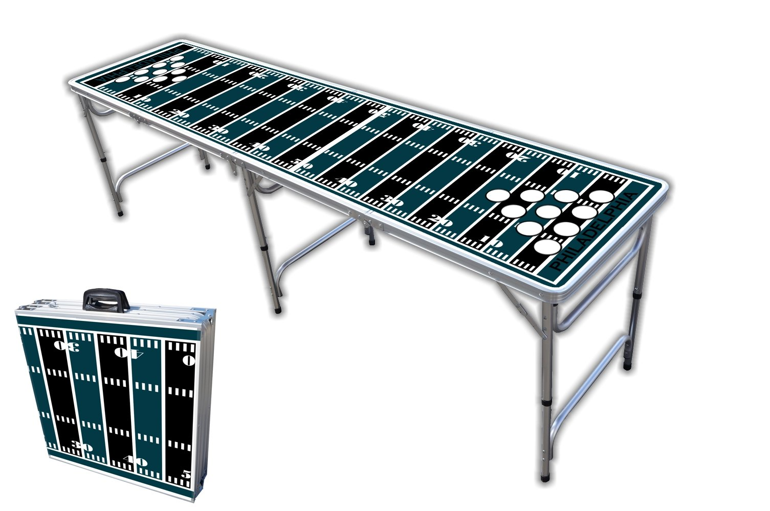 8-Foot Professional Beer Pong Table w/Holes - Philadelphia Football Field Graphic by PartyPongTables.com