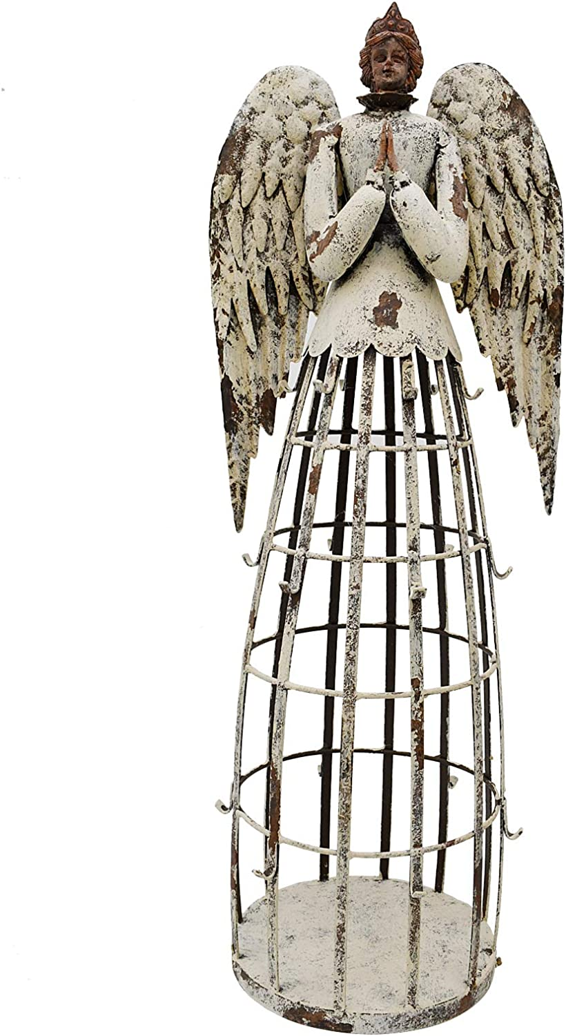 """E-view Metal Angel Statues for Garden Yard Lawn - Decorative Sculpture Antique Praying Angels Christmas Holiday Decoration Indoor Outdoor Guardian Angel (22"""")"""