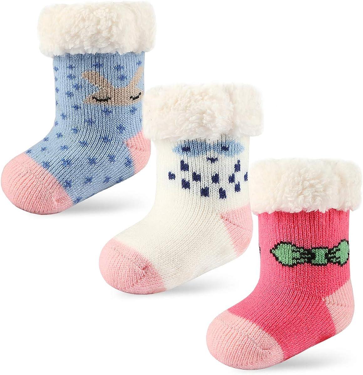 3 Pairs Newborn Infant Toddler Slipper Socks Baby Girls Boys Grips Socks Christmas Socks Kids Sherpa-lined Fuzzy Home Socks