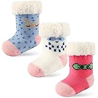 3 Pairs Newborn Infant Toddler Slipper Socks Baby Girls Boys Winter Grips Socks Kids Fuzzy Home Socks