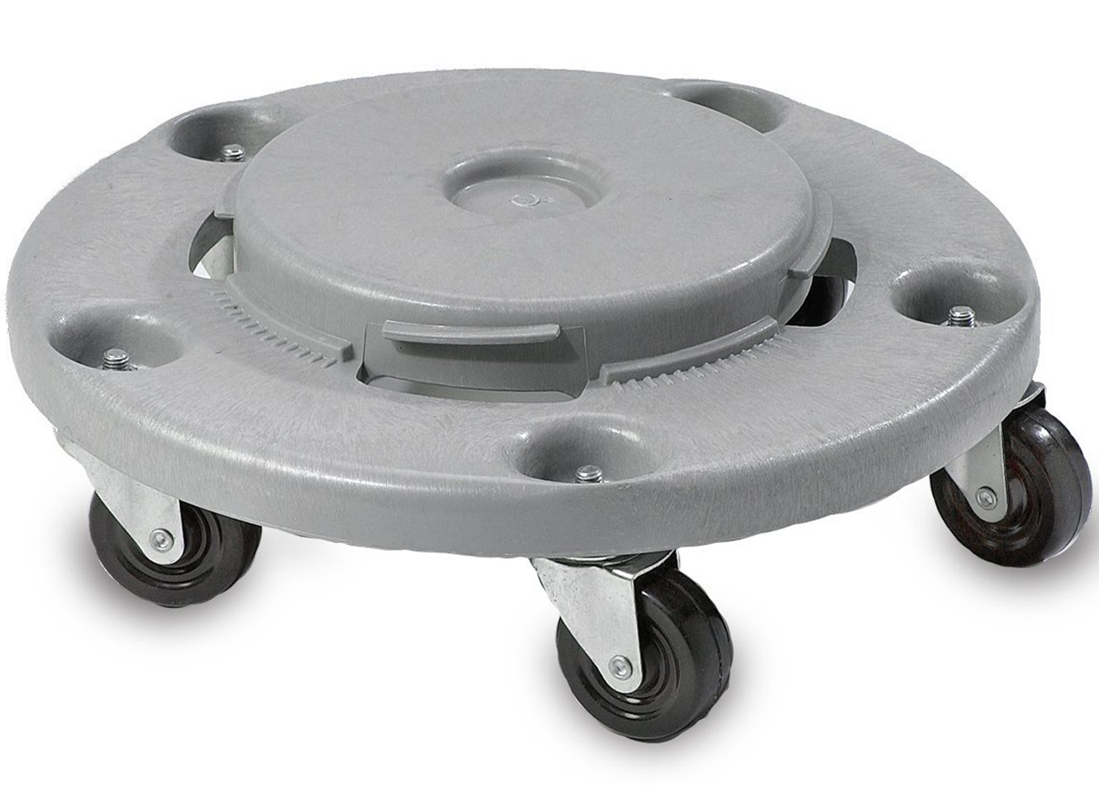 Janico 1040 Trash Can Dolly - Heavy Duty Bolted Casters, Round, Grey, Fits 20 32 44 55 Gallon Containers