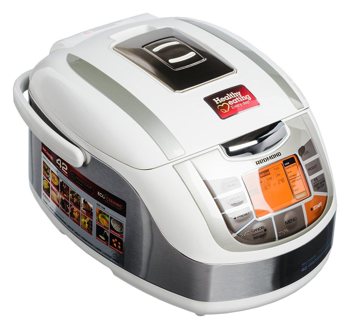 Redmond RMC-M4502E Multicooker/Pentola Cuociriso, 42 funzioni programmabili con Pannello LED, pentola in Acciaio inossidabile da 5l, Ecoceramic, Potenza 1000w, Bianco [Classe di efficienza energetica A] 5055323607820
