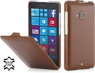 StilGut® UltraSlim Case, custodia in pelle per Microsoft Lumia 535, cognac