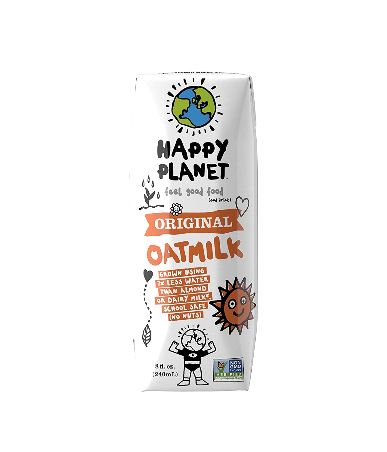 Happy Planet - OatMilk Original | 24 Pack – 8 FL OZ. (240ML) | Gluten Free Plant Based Beverage | Non GMO | Dairy Free | Vegan Friendly | Nut Free | Soy Free | Shelf Stable