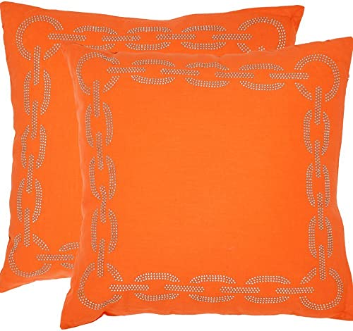 Safavieh Collection Sibine Orange Throw Pillows 12 x 20 Set of 2