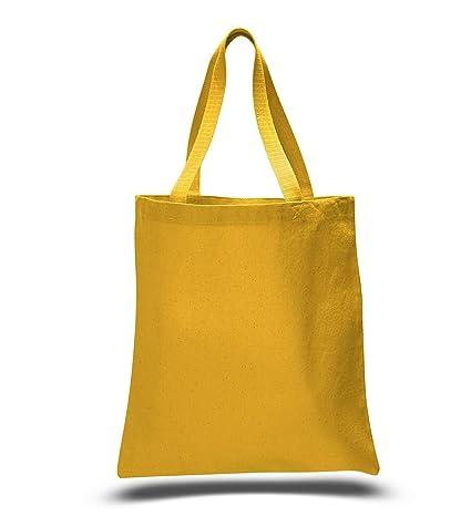 e8cf30e518 (12 Pack) 1 Dozen - Heavy Cotton Canvas Tote Bags (Gold)