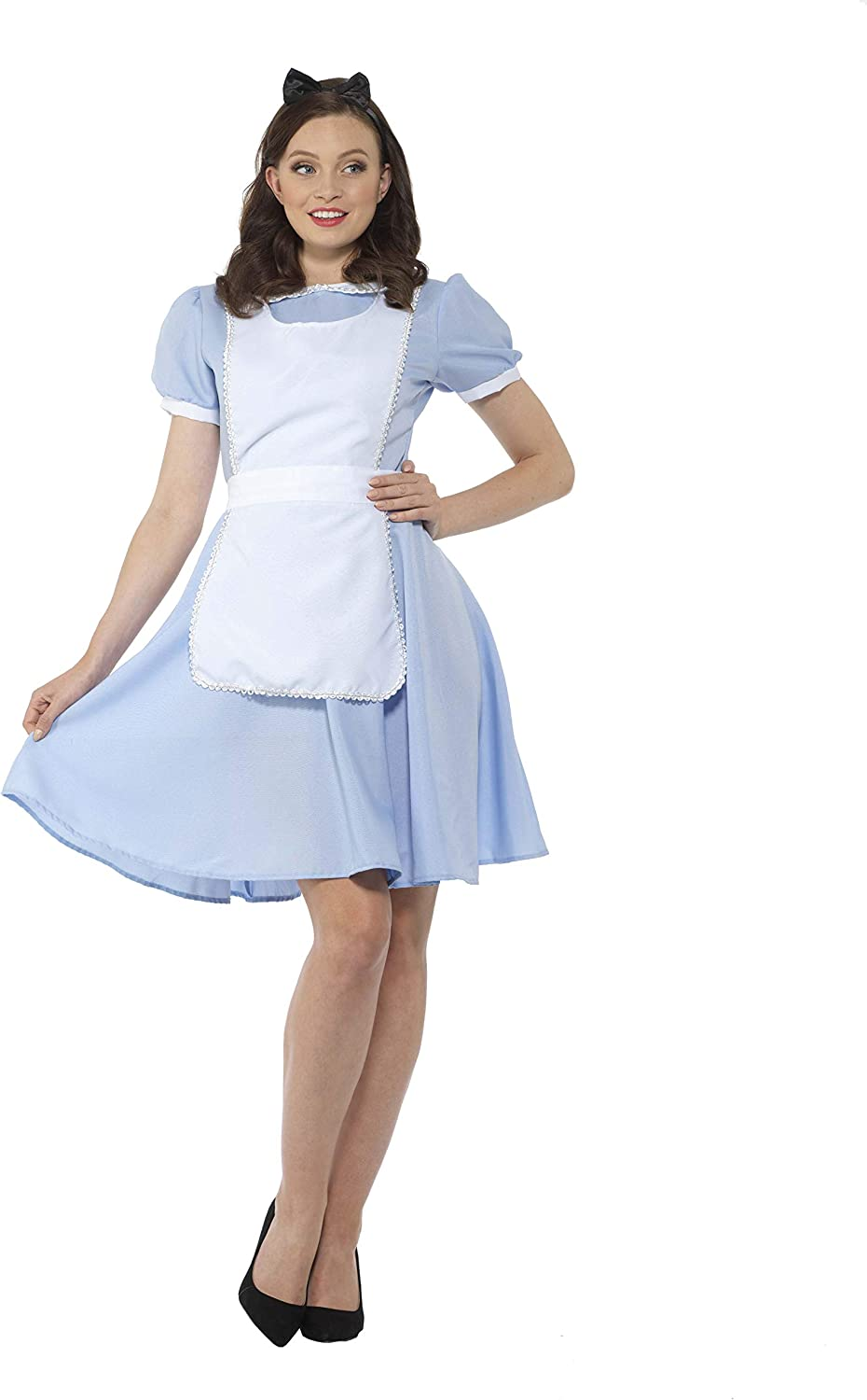 Fairytale Cosplay Costume - Halloween Womens Blue White Maid Dress Set,