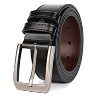 """QUEYUB Men's Dress Belts Genuine Leather 1.5"""" Wide Alloy Prong Buckle Gift Box"""