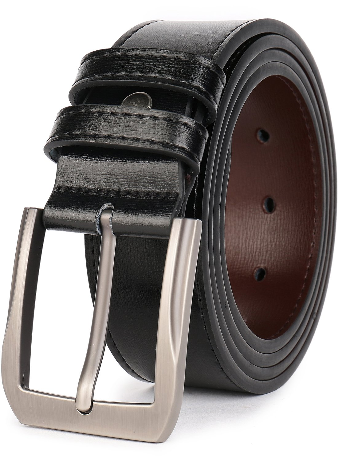 QUEYUB Men's Dress Belts Genuine Leather 1.5'' Wide Alloy Prong Buckle Gift Box (34-36, Black)