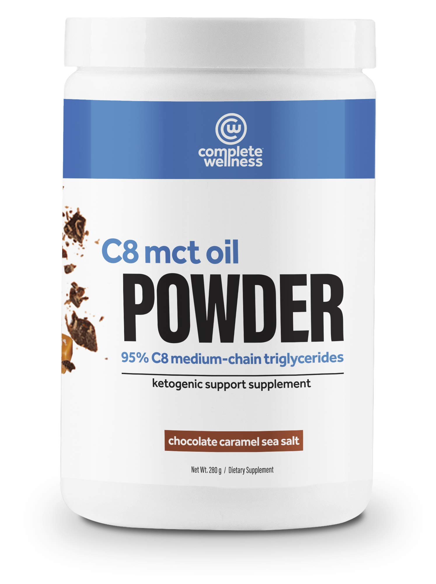 Complete Wellness C8 MCT Oil Powder 30 Servings - Chocolate Caramel Sea Salt - High Quality MCT Oil, Perfect for Keto