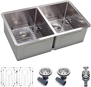 """Koozzo 32"""" Undermount Kitchen Sink, Rectangular 50/50 Double bowl, Stainless Steel,16 Gauge, Bar or Prep Kitchen Sink, Includes Strainer/Drain/Grid"""