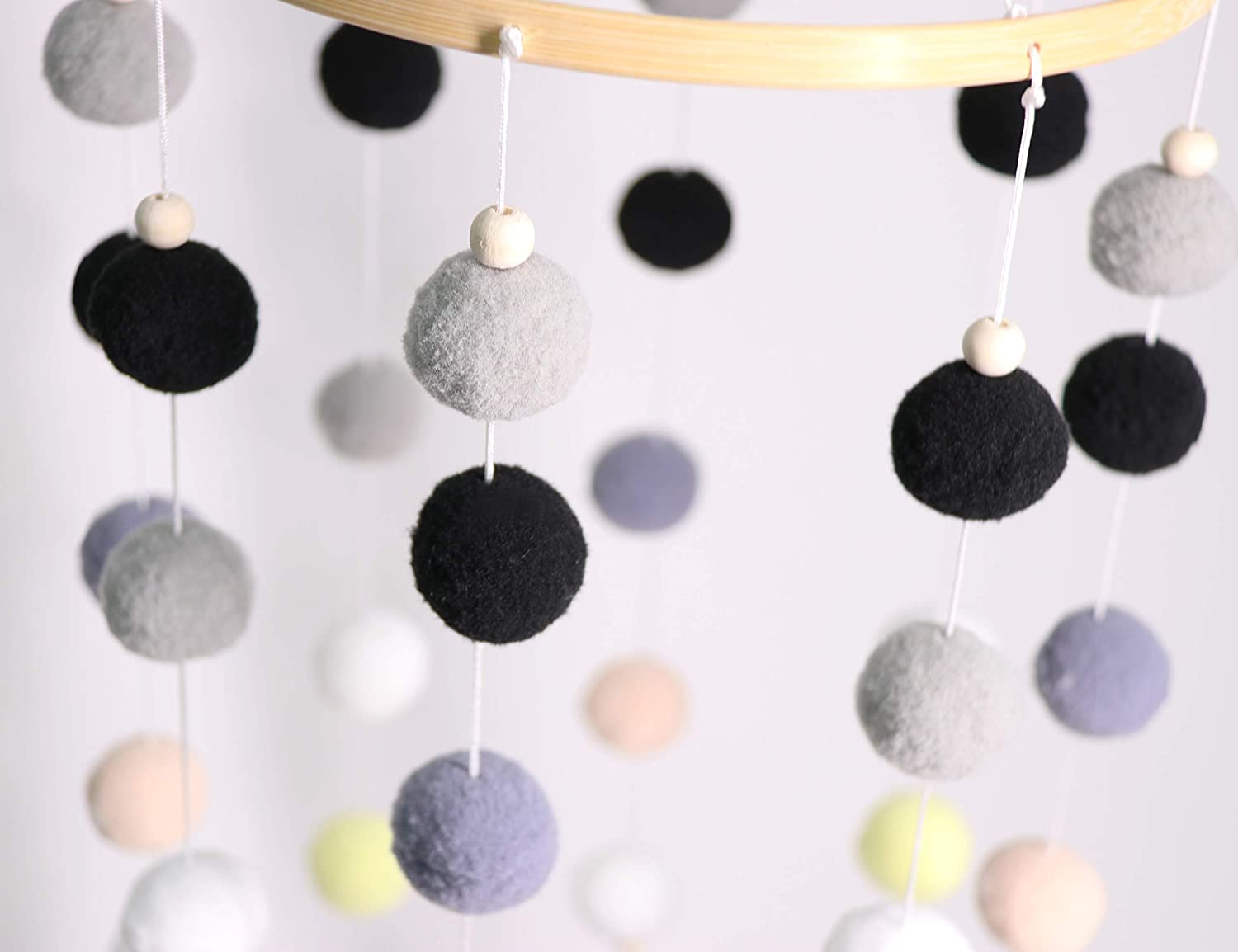 100/% Wooden Beads for Your Boy or Girl Babies Bed Room Dark Gray-11.819.2In Baby Crib Mobile Designer Colors to Match Your Nursery and Delight Your Child