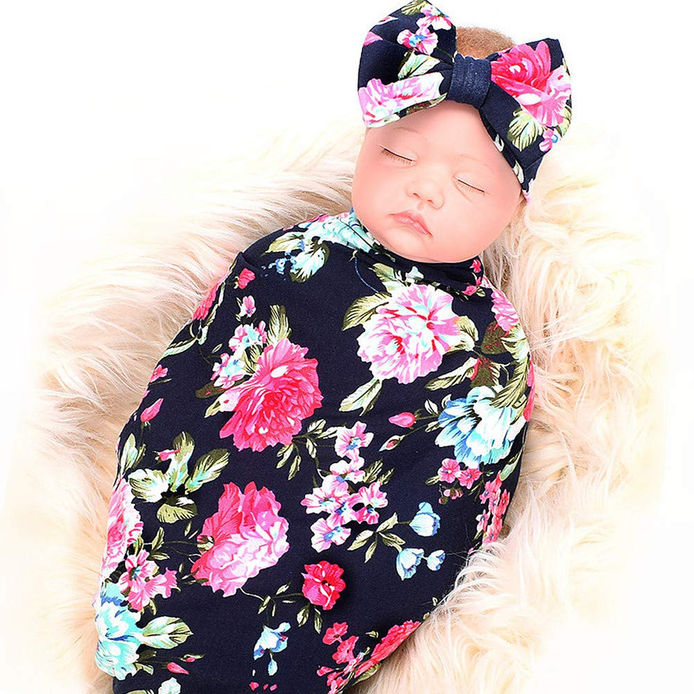 Newborn Receiving Blanket Headband Set, Flower Print Baby Swaddle Blanket with Bow Set, Baby Shower Giftfor Girls Boys (Navy Blue Rose) product image