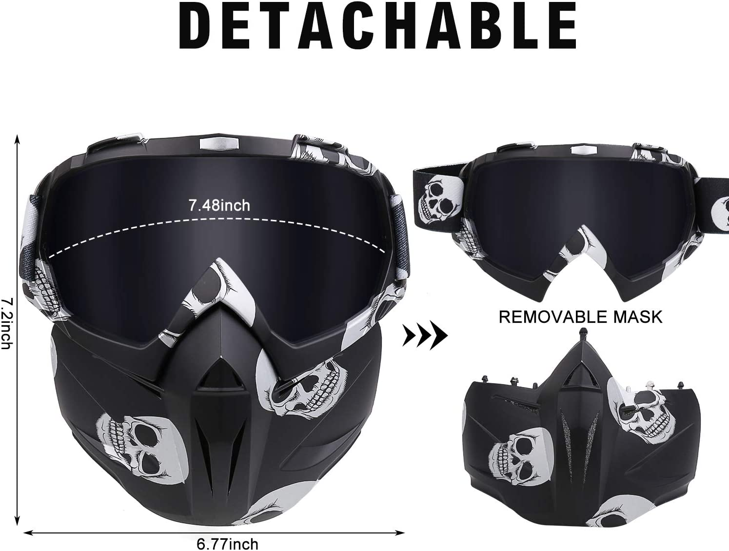 Ski Goggles ATV Racing Goggles Dirt Bike Mx Goggle Glasses,Detachable Full Face Mask Flantor Adult Motorcycle Goggles Motocross Windproof Face Mask