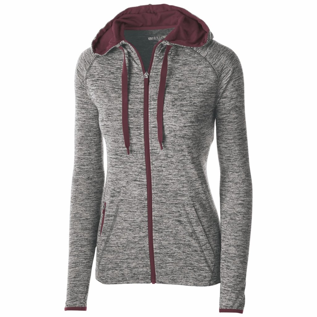 Holloway Dry Excel Ladies Force Full Zip Jacket (XX-Large, Carbon Heather/Maroon) by Holloway