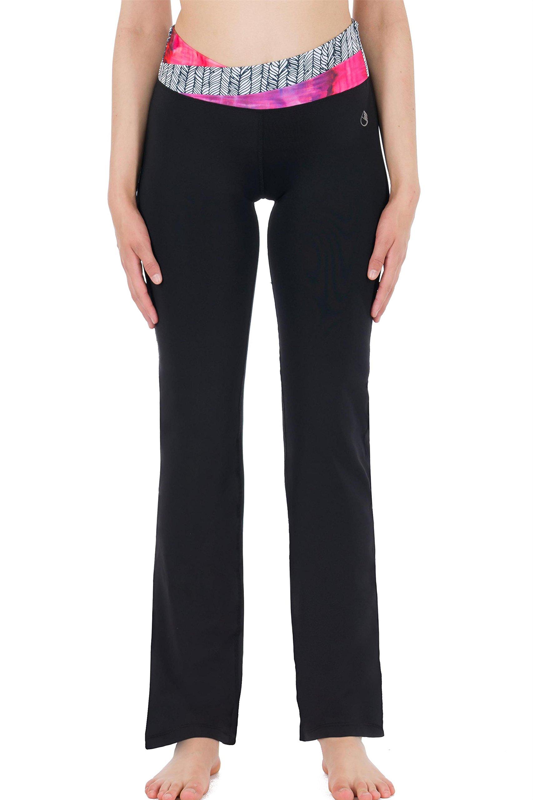 icyzone Women\'s Workout Contrast Waist Yoga Bootcut Bootleg Pants (XL, Leaves&Impression)